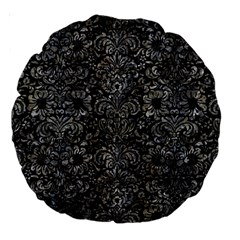Damask2 Black Marble & Gray Stone Large 18  Premium Round Cushions