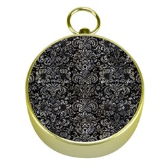 Damask2 Black Marble & Gray Stone Gold Compasses