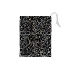 Damask2 Black Marble & Gray Stone Drawstring Pouches (small)