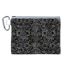Damask2 Black Marble & Gray Stone Canvas Cosmetic Bag (l)