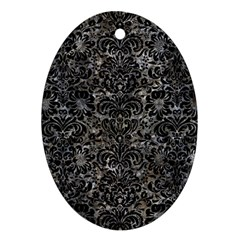 Damask2 Black Marble & Gray Stone (r) Ornament (oval)