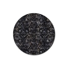 Damask2 Black Marble & Gray Stone (r) Rubber Round Coaster (4 Pack)