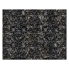 Damask2 Black Marble & Gray Stone (r) Rectangular Jigsaw Puzzl