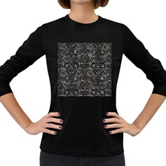 Damask2 Black Marble & Gray Stone (r) Women s Long Sleeve Dark T Shirts
