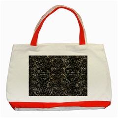 Damask2 Black Marble & Gray Stone (r) Classic Tote Bag (red)