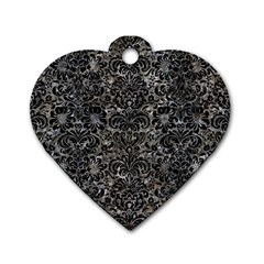 Damask2 Black Marble & Gray Stone (r) Dog Tag Heart (two Sides)
