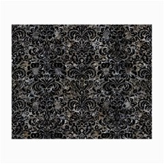 Damask2 Black Marble & Gray Stone (r) Small Glasses Cloth (2 Side)