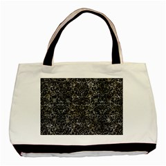 Damask2 Black Marble & Gray Stone (r) Basic Tote Bag (two Sides)