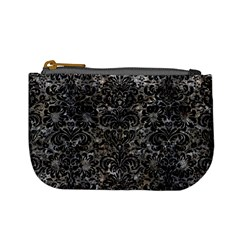 Damask2 Black Marble & Gray Stone (r) Mini Coin Purses