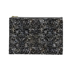 Damask2 Black Marble & Gray Stone (r) Cosmetic Bag (large)
