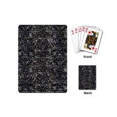 Damask2 Black Marble & Gray Stone (r) Playing Cards (mini)