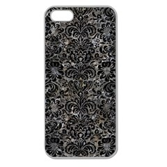 Damask2 Black Marble & Gray Stone (r) Apple Seamless Iphone 5 Case (clear)