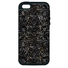 Damask2 Black Marble & Gray Stone (r) Apple Iphone 5 Hardshell Case (pc+silicone)
