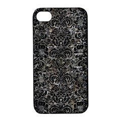 Damask2 Black Marble & Gray Stone (r) Apple Iphone 4/4s Hardshell Case With Stand