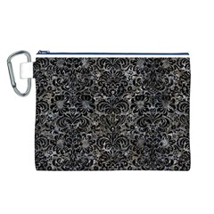 Damask2 Black Marble & Gray Stone (r) Canvas Cosmetic Bag (l)