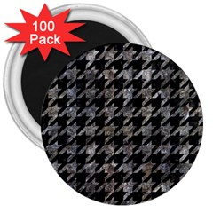 Houndstooth1 Black Marble & Gray Stone 3  Magnets (100 Pack)