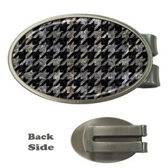 Houndstooth1 Black Marble & Gray Stone Money Clips (oval)