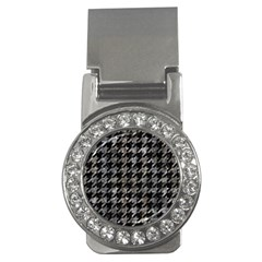 Houndstooth1 Black Marble & Gray Stone Money Clips (cz)
