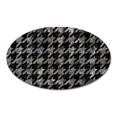Houndstooth1 Black Marble & Gray Stone Oval Magnet