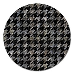 Houndstooth1 Black Marble & Gray Stone Magnet 5  (round)