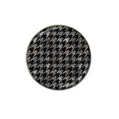 Houndstooth1 Black Marble & Gray Stone Hat Clip Ball Marker (4 Pack)