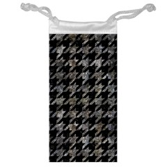 Houndstooth1 Black Marble & Gray Stone Jewelry Bag