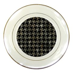 Houndstooth1 Black Marble & Gray Stone Porcelain Plates