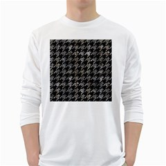 Houndstooth1 Black Marble & Gray Stone White Long Sleeve T Shirts