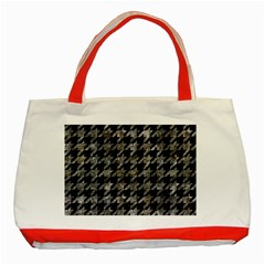 Houndstooth1 Black Marble & Gray Stone Classic Tote Bag (red)