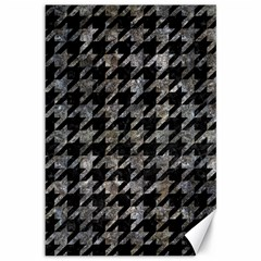 Houndstooth1 Black Marble & Gray Stone Canvas 12  X 18