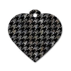 Houndstooth1 Black Marble & Gray Stone Dog Tag Heart (two Sides)
