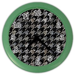 Houndstooth1 Black Marble & Gray Stone Color Wall Clocks
