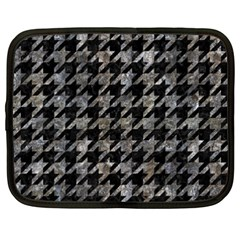Houndstooth1 Black Marble & Gray Stone Netbook Case (xxl)