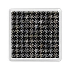 Houndstooth1 Black Marble & Gray Stone Memory Card Reader (square)