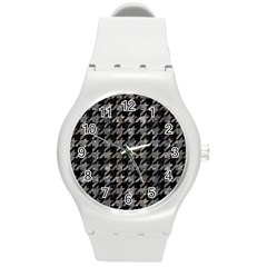 Houndstooth1 Black Marble & Gray Stone Round Plastic Sport Watch (m)