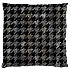 Houndstooth1 Black Marble & Gray Stone Large Cushion Case (one Side)
