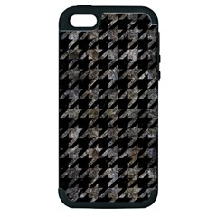Houndstooth1 Black Marble & Gray Stone Apple Iphone 5 Hardshell Case (pc+silicone)