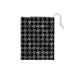 Houndstooth1 Black Marble & Gray Stone Drawstring Pouches (small)
