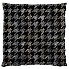 Houndstooth1 Black Marble & Gray Stone Large Flano Cushion Case (one Side)