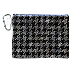 Houndstooth1 Black Marble & Gray Stone Canvas Cosmetic Bag (xxl)