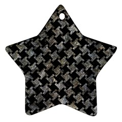 Houndstooth2 Black Marble & Gray Stone Ornament (star)
