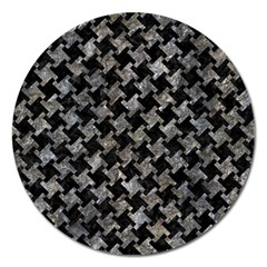 Houndstooth2 Black Marble & Gray Stone Magnet 5  (round)