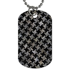 Houndstooth2 Black Marble & Gray Stone Dog Tag (two Sides)
