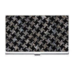 Houndstooth2 Black Marble & Gray Stone Business Card Holders