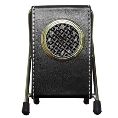 Houndstooth2 Black Marble & Gray Stone Pen Holder Desk Clocks