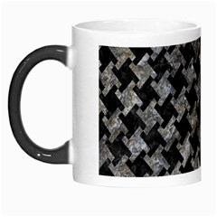 Houndstooth2 Black Marble & Gray Stone Morph Mugs
