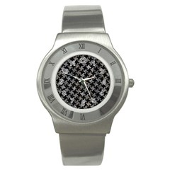 Houndstooth2 Black Marble & Gray Stone Stainless Steel Watch