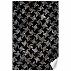 Houndstooth2 Black Marble & Gray Stone Canvas 24  X 36