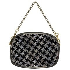 Houndstooth2 Black Marble & Gray Stone Chain Purses (one Side)
