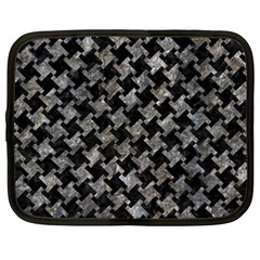 Houndstooth2 Black Marble & Gray Stone Netbook Case (xxl)